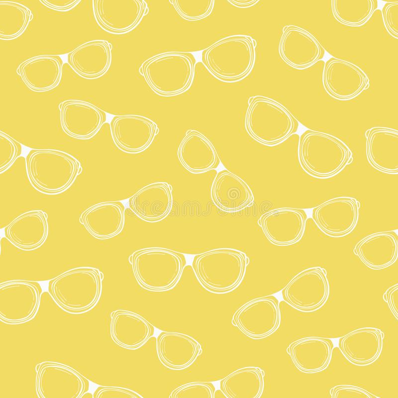 Bezszwowy wzór biali konturów punkty na żółtym tle royalty ilustracja