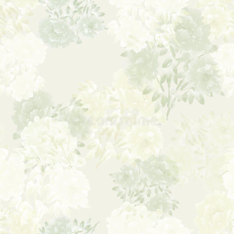 Bezszwowy wzór bielu i zieleni kwiaty peonie na jasnożółtym tle szczegółowy rysunek kwiecisty pochodzenie wektora akwarela royalty ilustracja