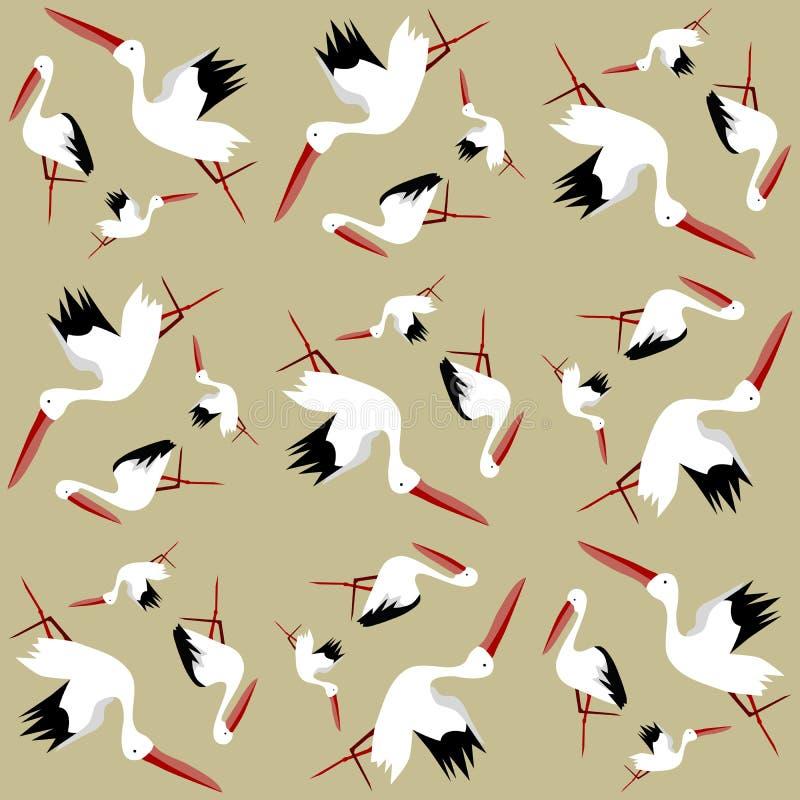 Bezszwowy wzór bociany ilustracja wektor
