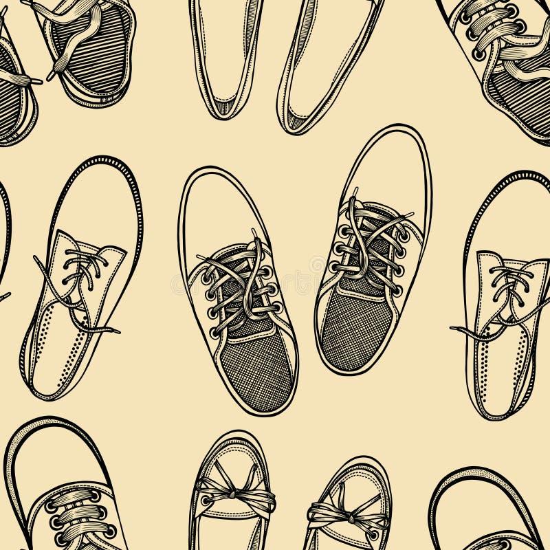 Bezszwowy wzór buty - sneakers royalty ilustracja