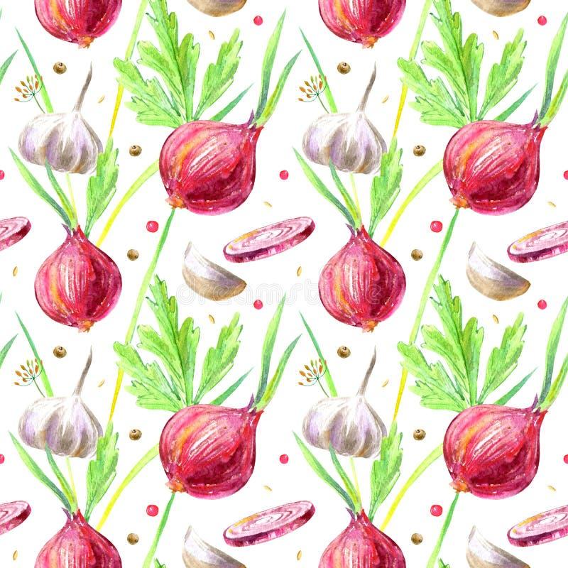 Bezszwowy wzór cebula, koper, pieprz, pietruszka i czosnek, royalty ilustracja