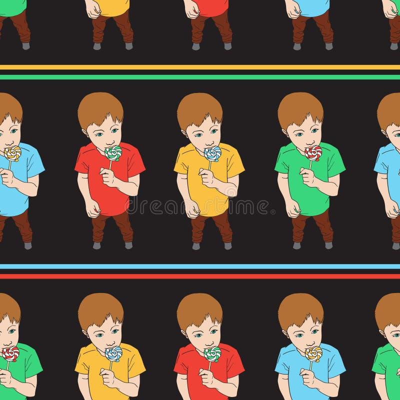 Bezszwowy wzór chłopiec mienia lizaka cukierek Dzieciaka łasowania cukierki Wektorowy tło odizolowywający na czerni ilustracja wektor