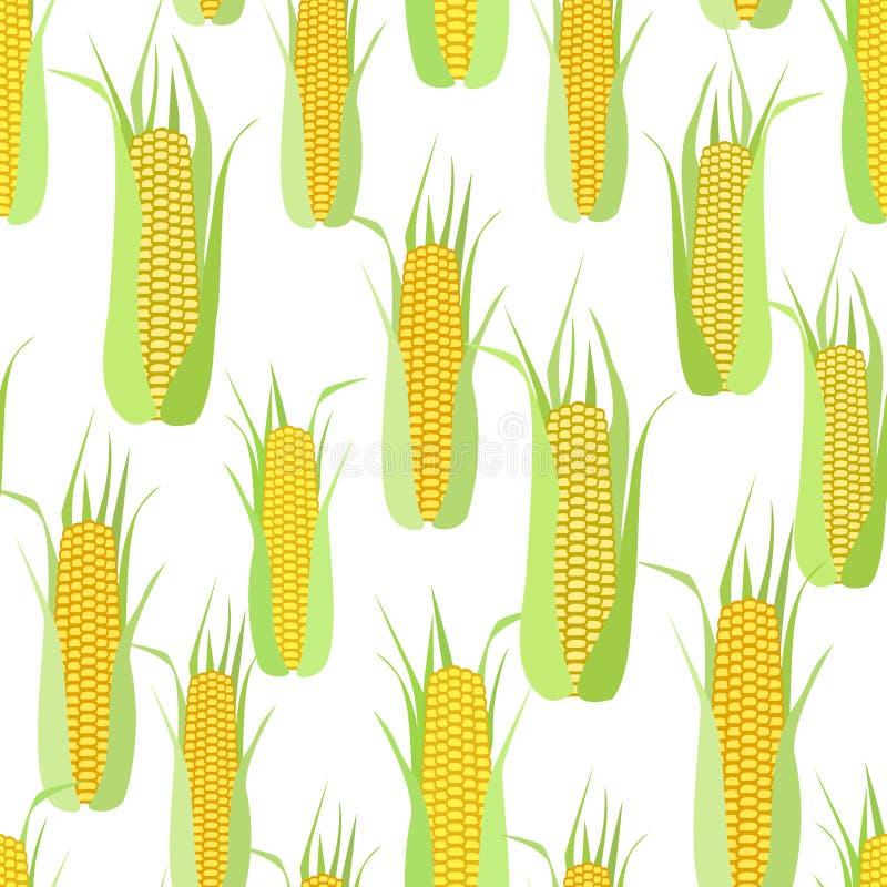 Bezszwowy wzór cobs kukurudza na bielu ilustracji
