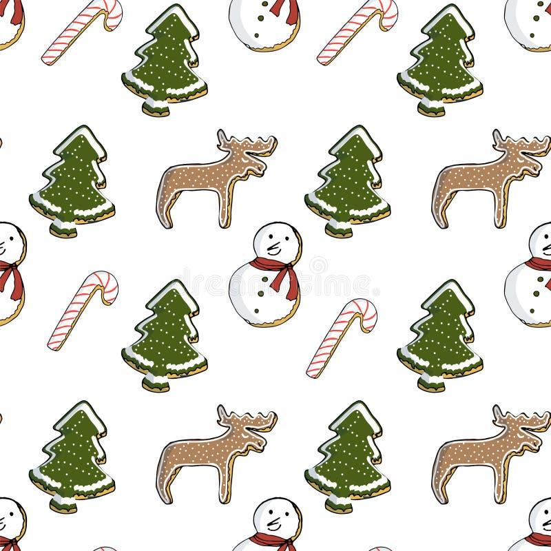 Bezszwowy wzór cukierki, choinka, bałwany, rogacze na białych świątecznych elementach dla restauracji royalty ilustracja