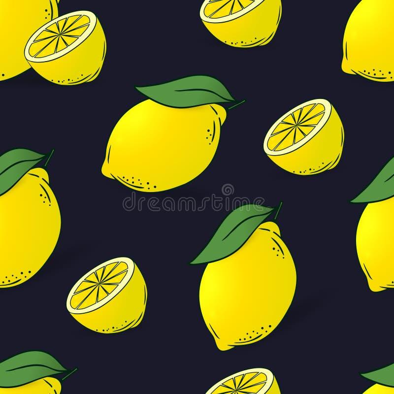 Bezszwowy wzór cytryny z liśćmi ilustracja wektor