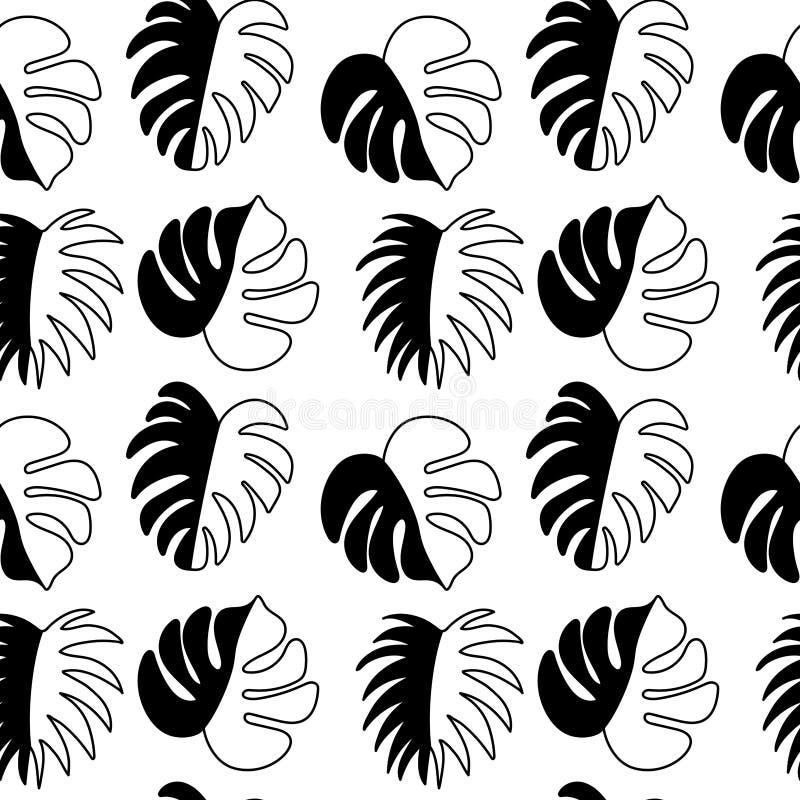 Bezszwowy wzór, czarne sylwetki tropikalni liście na białym tle ilustracji