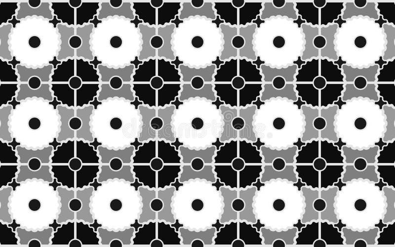Bezszwowy wzór czarny i biały okręgi i przekładnie dla eleganckiej tkaniny, tkaniny i tło, royalty ilustracja