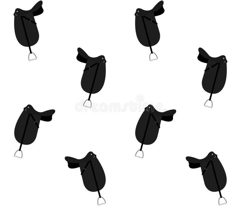 Bezszwowy wzór czarny płaski dressage konia comber ilustracja wektor