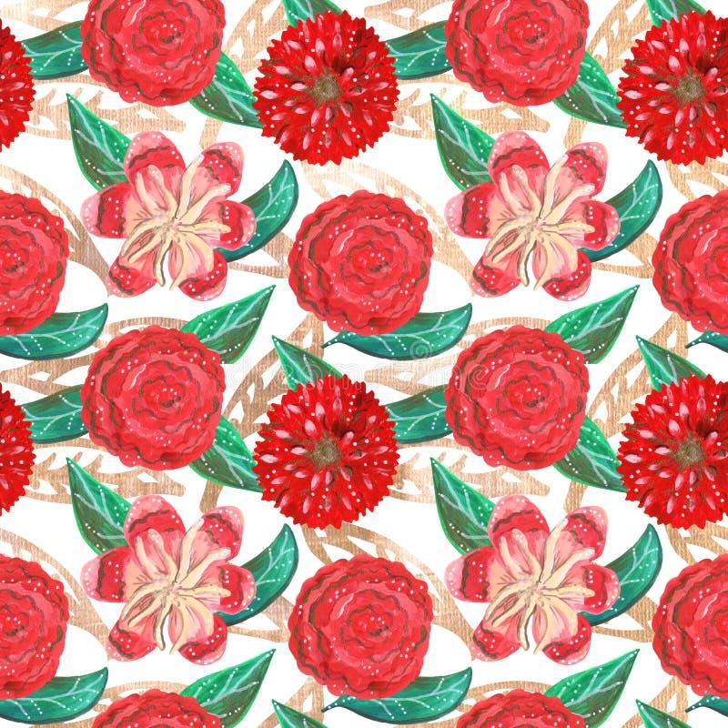 Bezszwowy wzór czerwoni ornamentacyjni kwiaty i zieleń liście z złotymi elementami guaszów tropikalni i meksykanin ilustracji