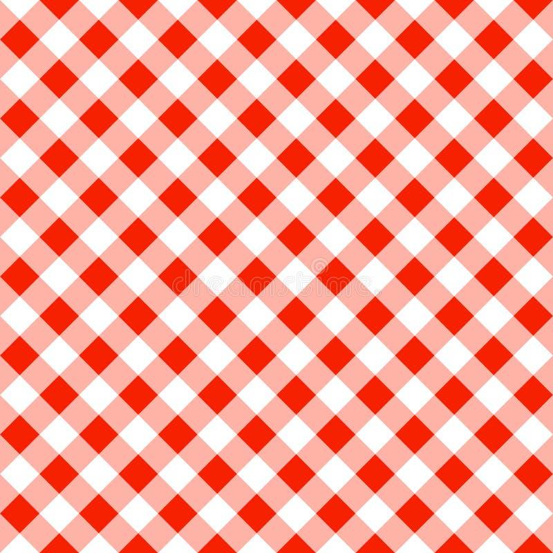 Bezszwowy wzór czerwony biały szkockiej kraty tablecloth ilustracji