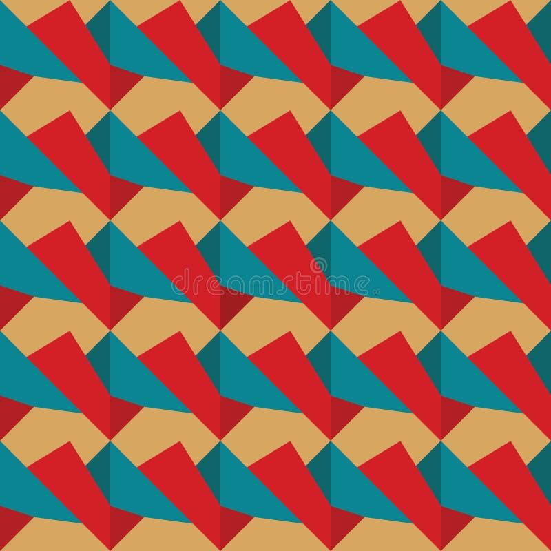 Bezszwowy wzór czerwony i błękitny retro obraz stock