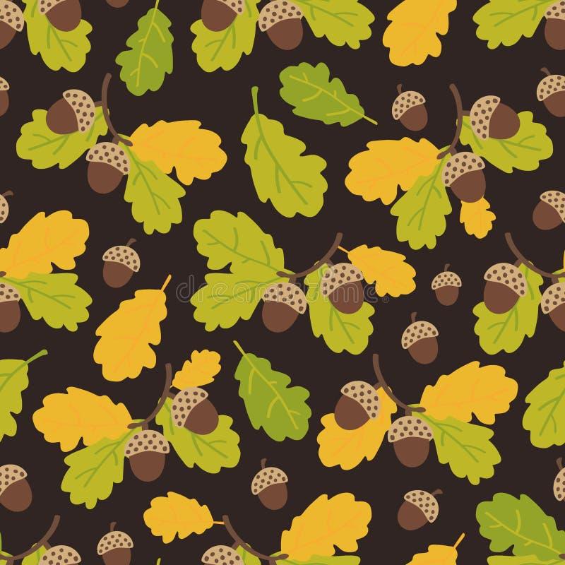 Bezszwowy wzór dębów acorns i gałąź na ciemnym tle Jesie? wz?r r?wnie? zwr?ci? corel ilustracji wektora royalty ilustracja