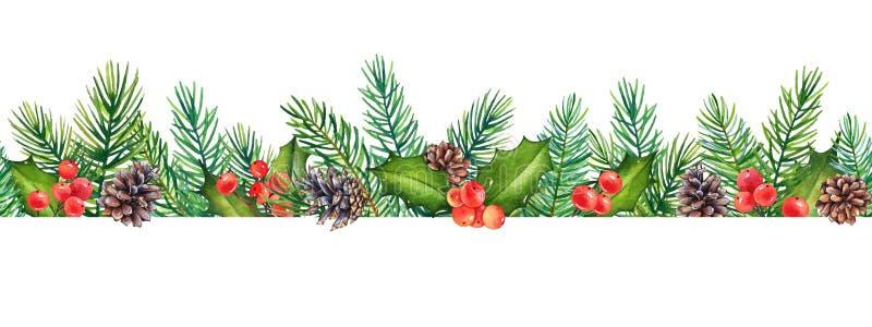 Bezszwowy wzór, dekoracyjny Bożenarodzeniowy kwiecisty element z akwareli gałąź holly z jagodami i sosna z rożkami, royalty ilustracja