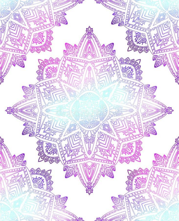 Bezszwowy wzór delikatni mandalas na białym tle Ręka rysujący doodle koronki tło Wektorowa Gradientowa tekstura royalty ilustracja
