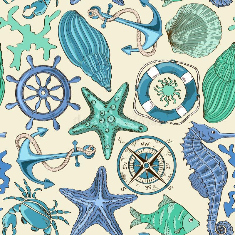 Bezszwowy wzór denni zwierzęta i nautyczni elementy royalty ilustracja