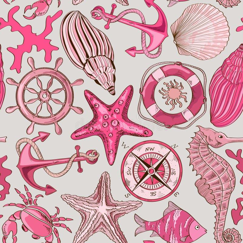 Bezszwowy wzór denni zwierzęta i nautyczni elementy ilustracji