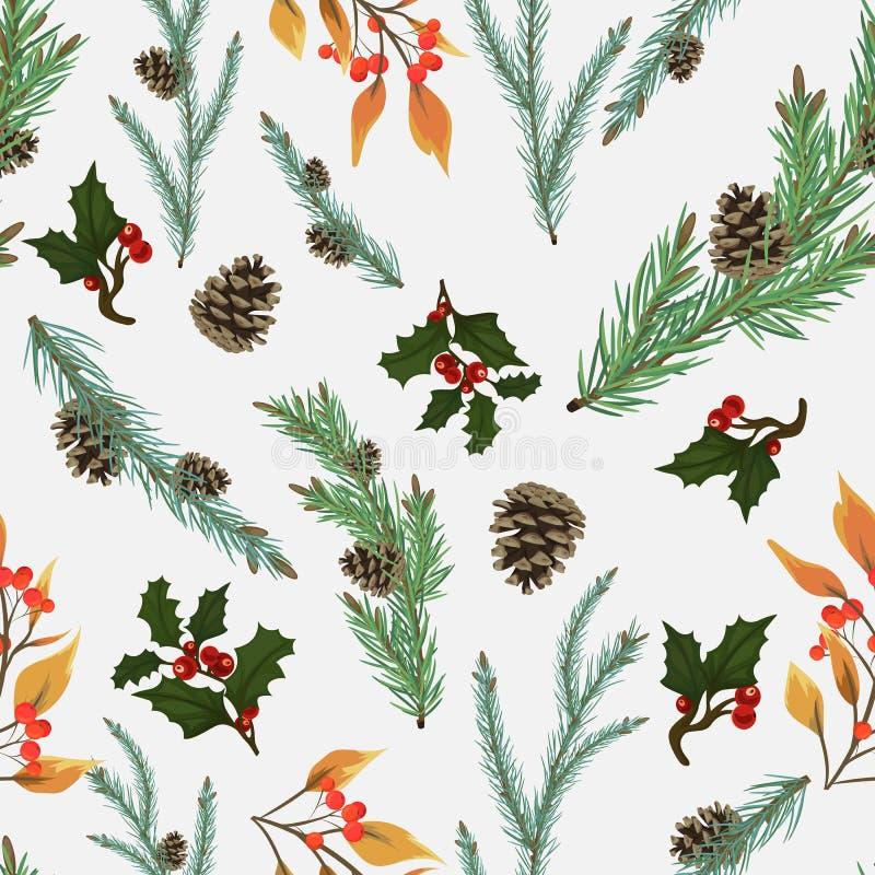 Bezszwowy wzór dla bożych narodzeń i nowego roku Piękna sosna rozgałęzia się z rożków, holly i rowan gałąź, royalty ilustracja