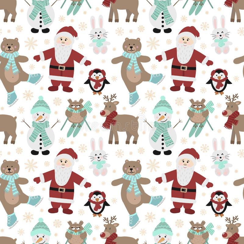 Bezszwowy wzór dla bożych narodzeń i nowego roku Wektorowa pociągany ręcznie ilustracja Santa, sowy na nartach, niedźwiedź na łyż ilustracji
