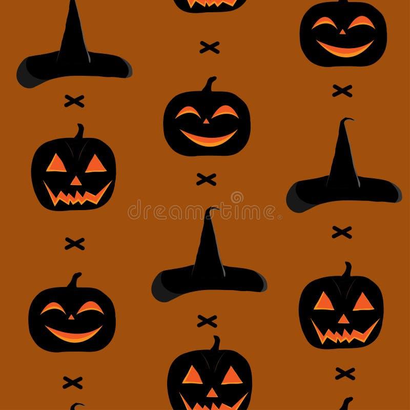 Bezszwowy wzór dla dnia Halloween, z baniami, miotłą i czarownica kapeluszem, obraz stock