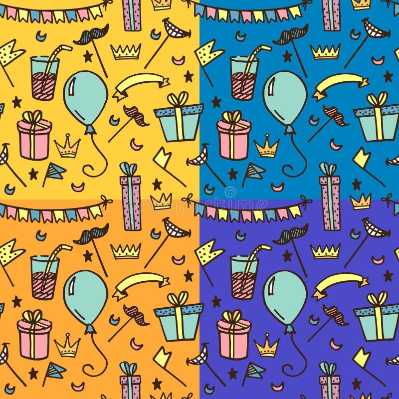 Bezszwowy wzór dla dzieciaków przyjęć ilustracja wektor