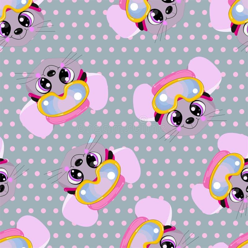 Bezszwowy wzór dla dziecka odziewa podnunki, podkoszulki i pieluszki z ślicznymi zwierzętami w polek kropkach, ilustracja wektor