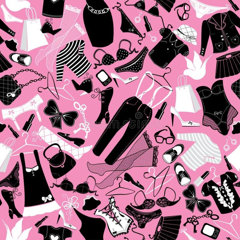 Bezszwowy wzór dla moda projekta - sylwetki  ilustracja wektor