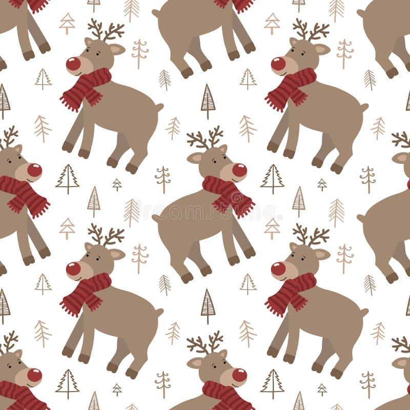 Bezszwowy wzór dla nowego roku Wektorowa pociągany ręcznie ilustracja bożych narodzeń płatek śniegu i zabawki royalty ilustracja