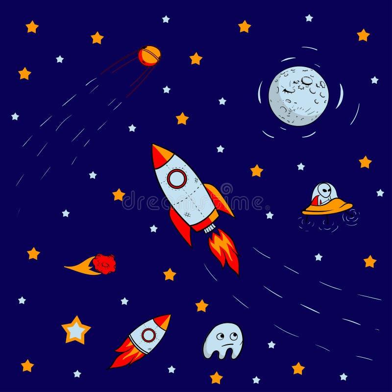 Bezszwowy wzór dla podróży przestrzeń z nakreślenie gwiazdami, rakietą, kometami, planetami i ufo, wektor ilustracji