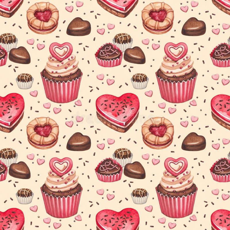 Bezszwowy wzór dla valentines dnia ilustracja wektor