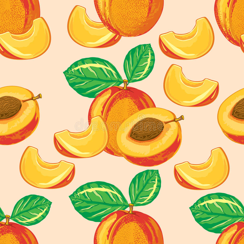 Bezszwowy wzór dojrzała brzoskwinia ilustracja wektor
