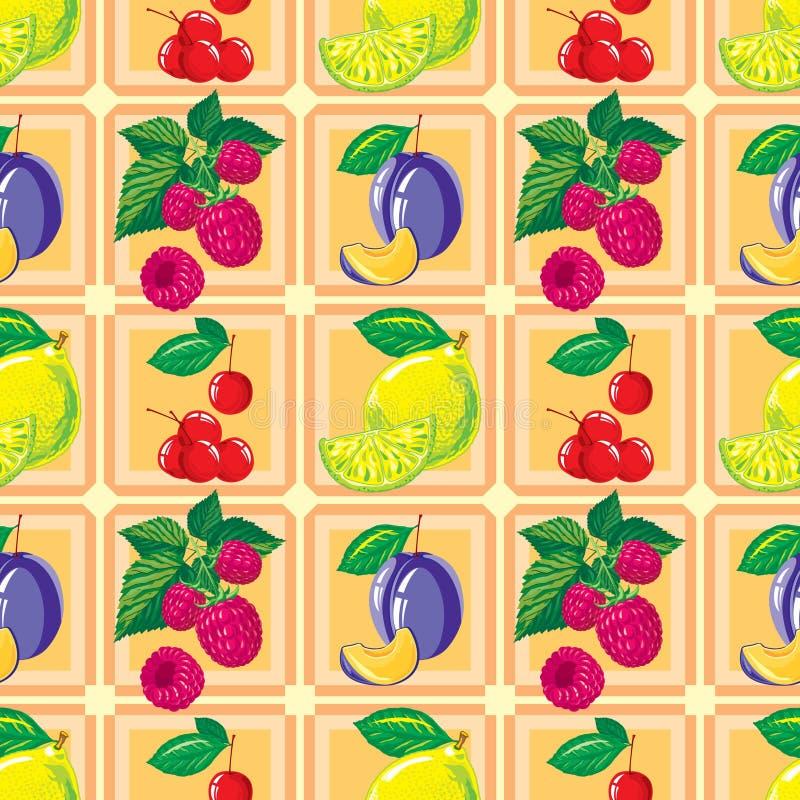 Bezszwowy wzór dojrzała cytryna, malinka, wiśnia, śliwka royalty ilustracja