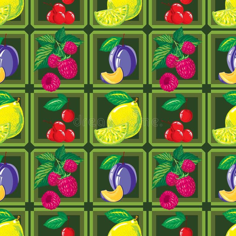 Bezszwowy wzór dojrzała cytryna, malinka, wiśnia i śliwka, ilustracji