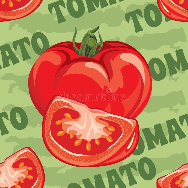 Bezszwowy wzór dojrzały czerwony pomidor royalty ilustracja