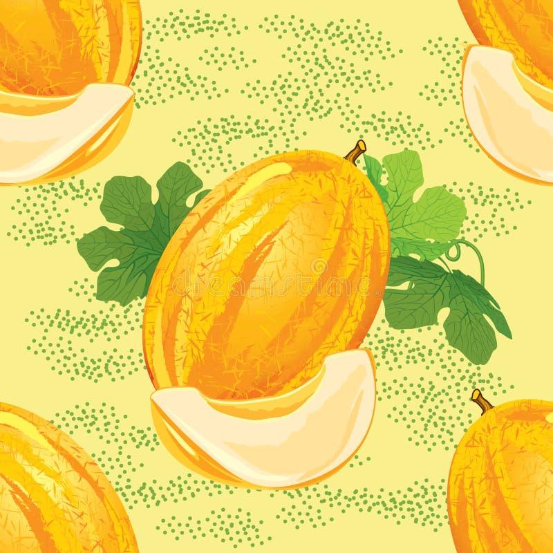 Bezszwowy wzór dojrzały melon ilustracji