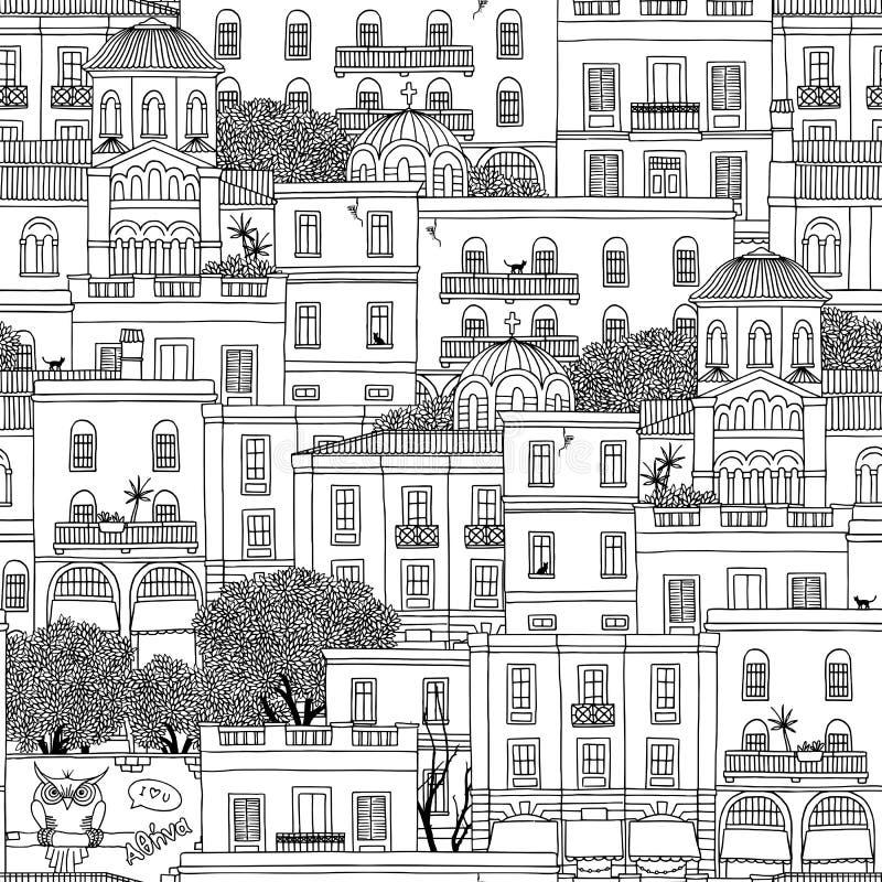 Bezszwowy wzór domy w Ateny, Grecja royalty ilustracja