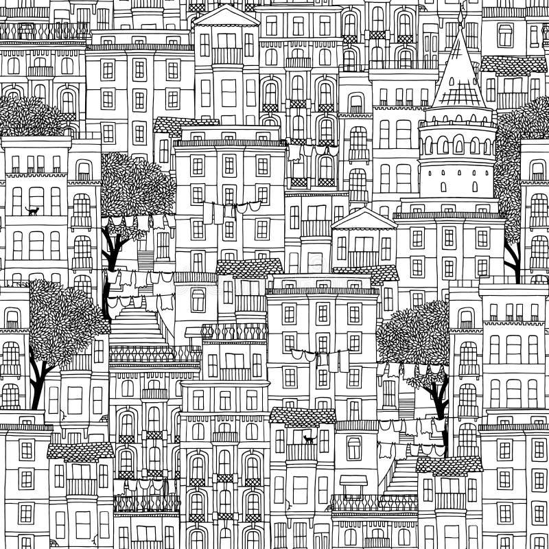 Bezszwowy wzór domy w Istanbuł, Turcja royalty ilustracja