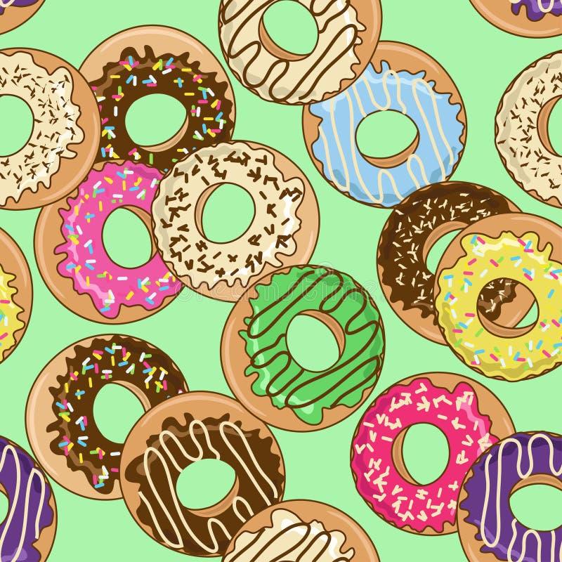 Bezszwowy wzór donuts royalty ilustracja