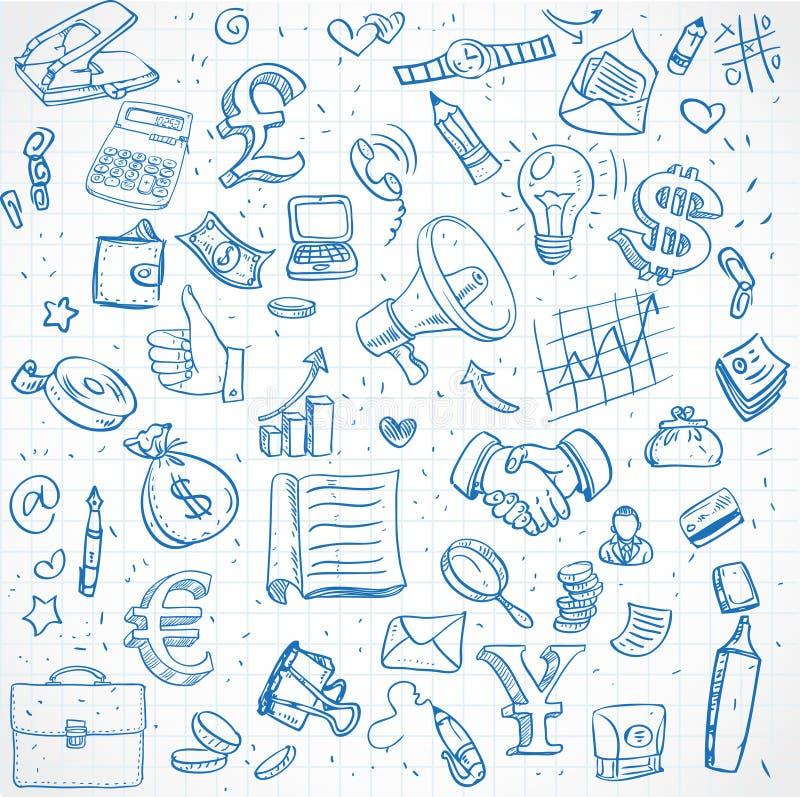 Bezszwowy wzór doodles na biznesowym temacie royalty ilustracja