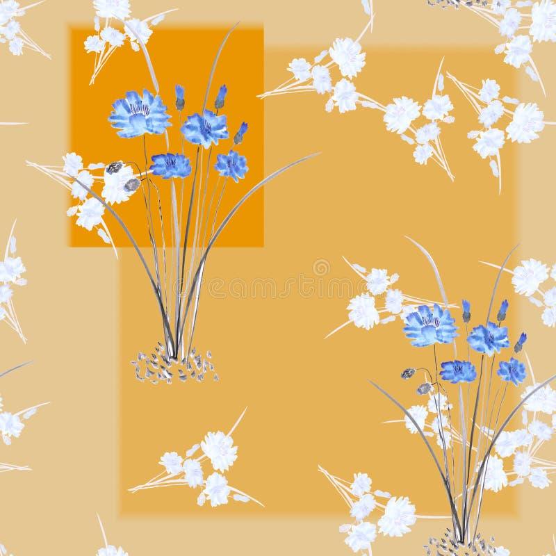Bezszwowy wzór dzicy mali biali bukiety i błękit kwitnie na beżowym tle z geometrycznymi pomarańczowymi kształtami akwarela ilustracji