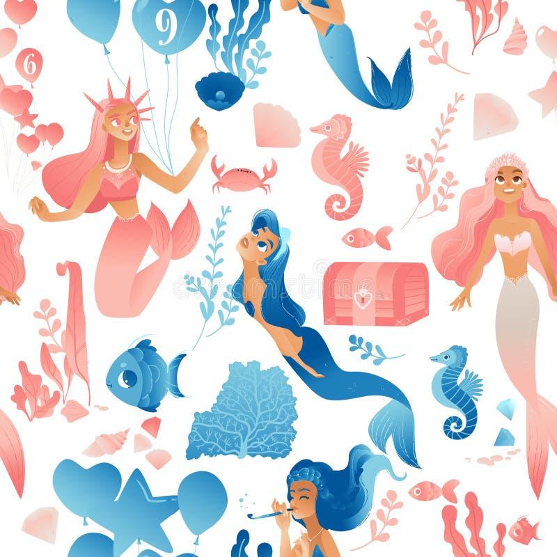 Bezszwowy wzór dziecinny z syrenkami w różowej i niebieskiej, płaskiej ilustracji wektorowej royalty ilustracja