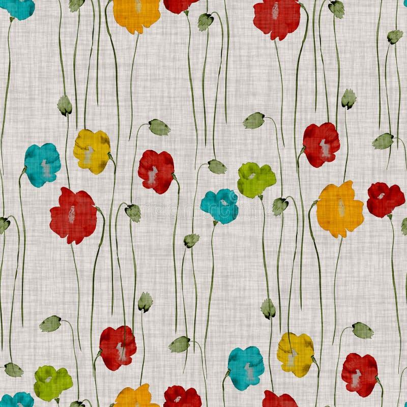 Bezszwowy wzór dzika czerwień, błękit, kolor żółty, zieleni kwiaty maczki na lekkim biege tle akwarela ilustracja wektor