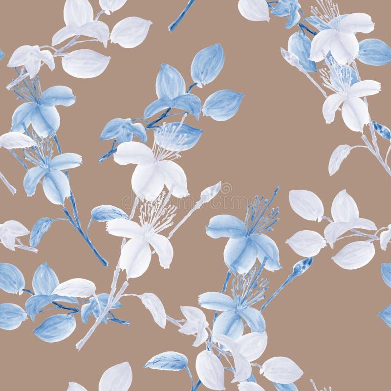 Bezszwowy wzór dziki biały i błękit kwitnie i rozgałęzia się na głębokim beżowym tle z geometrycznymi postaciami akwarela royalty ilustracja