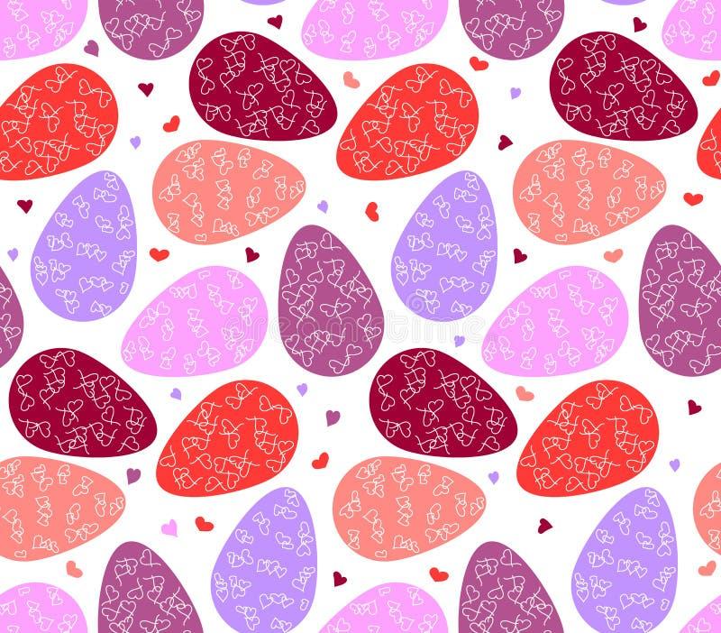 Bezszwowy wzór Easter serca i jajka ilustracja wektor