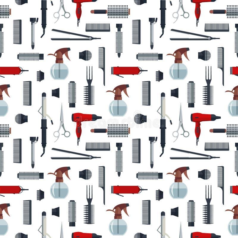 Bezszwowy wzór fryzjerów przedmioty w mieszkanie stylu odizolowywającym na białym tle Włosianego salonu wyposażenie i narzędzie l ilustracja wektor