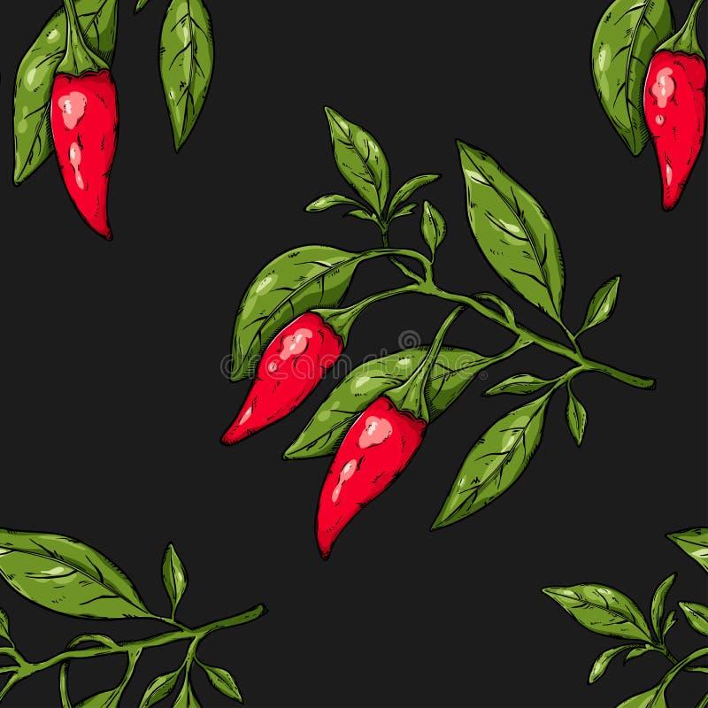 Bezszwowy wzór gałęziaści chili pieprze ilustracja wektor