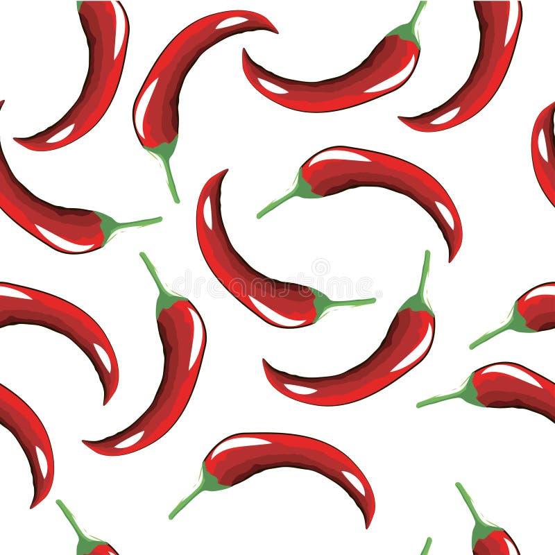 Bezszwowy wzór gorący czerwony pieprz royalty ilustracja