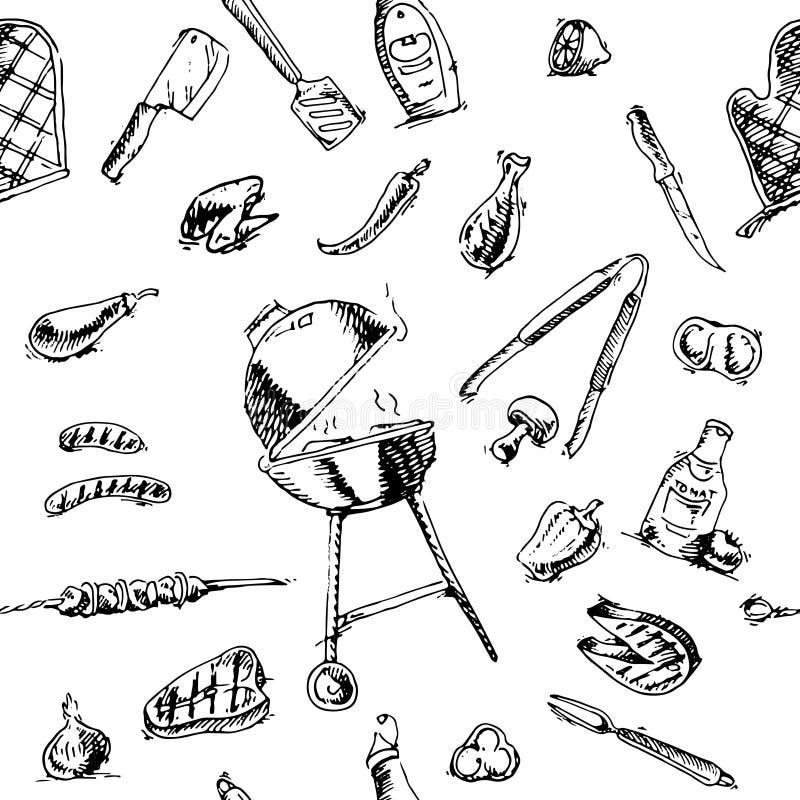 Bezszwowy wzór grill ilustracja wektor