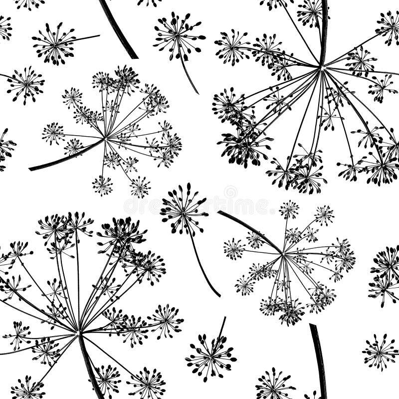 Bezszwowy wzór grupowe czarne gałąź koperkowi ziarna odizolowywający na białym tle obraz royalty free