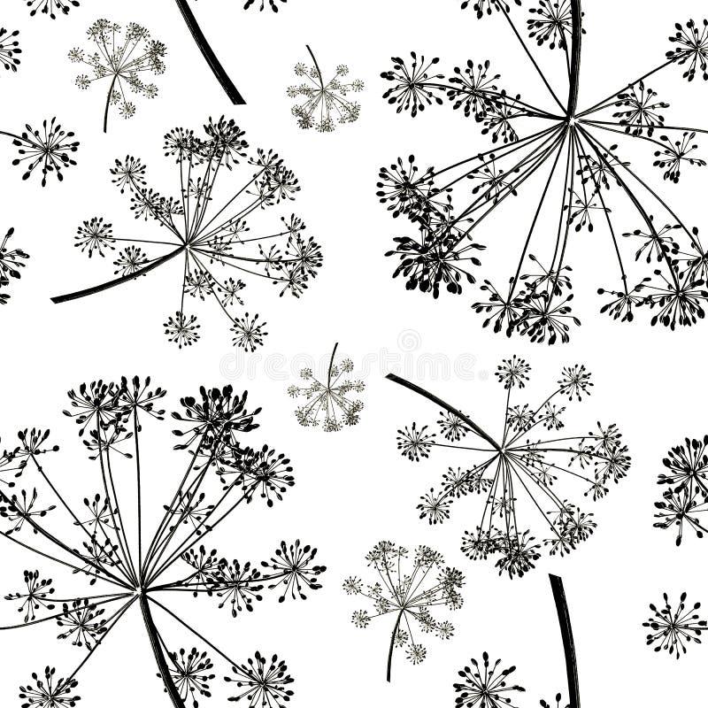 Bezszwowy wzór grupowe czarne gałąź koperkowi ziarna odizolowywający na białym tle zdjęcie royalty free