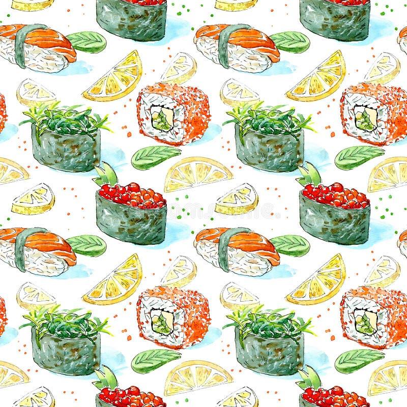 Bezszwowy wzór gunkan, suszi i rolka, Japońska kuchnia royalty ilustracja